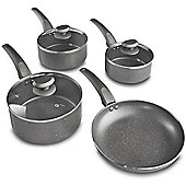 VonShef 4pc Marble Pan Set – Non-Stick Aluminium with Grey Marble Finish – 3 Saucepans Small/Medium/Large with Glass Lids & 24cm Frying Pan