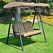 Outsunny 2 Seater Outdoor Garden Metal Swing Chair-Beige