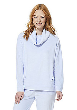 F&F Cowl Neck Fleece Lounge Top - Light blue