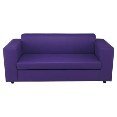 Stanza Leather Effect Sofa Bed, 2 Seater Sofa Purple