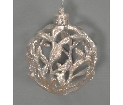 Silver Glitter Filigree Christmas Bauble (10cm)