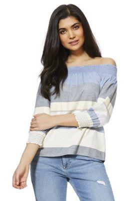F&F Striped Bardot Top Blue 8