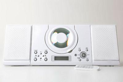 Grouptronics GTMC-101 White Wall Mountable CD Player Stereo with FM radio, Clock / Alarm & Wall Mountable