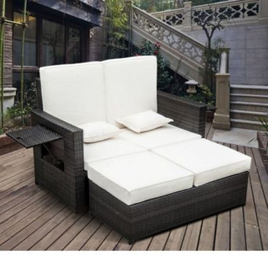 buy outsunny outdoor 2 seater rattan daybed with footstool. Black Bedroom Furniture Sets. Home Design Ideas
