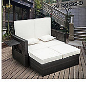 Outsunny Outdoor 2 Seater Rattan Daybed with Footstool in Brown