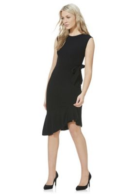 Feverfish Asymmetric Flute Hem Bodycon Dress Black 10