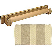 Creamore Mill Oak Roller Towel Rail with Natural Stripe Cotton Towel RTH001W