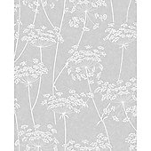 Superfresco Easy Aura Paste The Wall Sprig Motif Grey Wallpaper