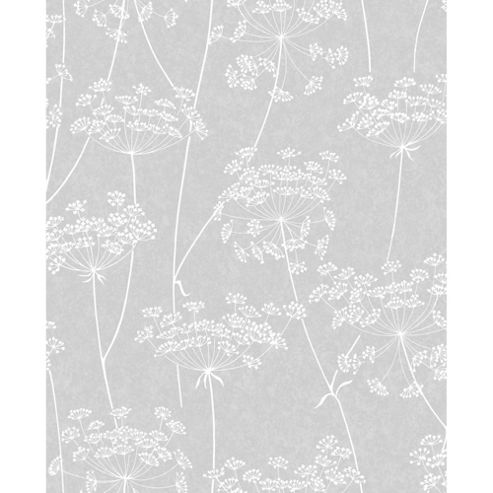 Superfresco Easy Paste The Wall Aura Sprig Motif Grey Wallpaper