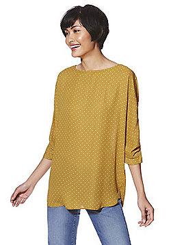 F&F Spot Print 3/4 Sleeve Top - Yellow