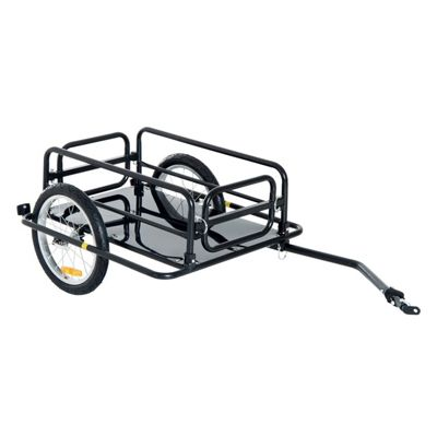 Homcom Folding Bike Trailer Cargo Steel Frame Storage Carrier with Hitch (Black)