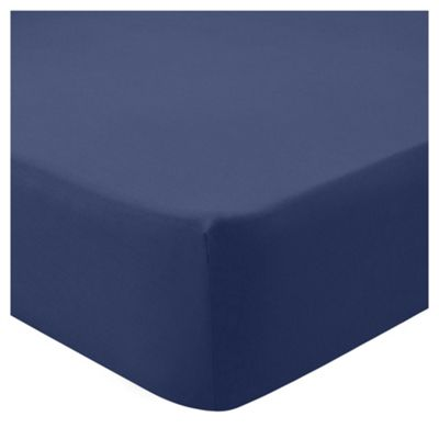 Tesco 68 pc Fitted Sheet navy Single