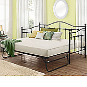 Happy Beds Torino Metal Day Bed and Underbed Trundle Guest Bed with 2 Orthopaedic Mattresses - Black - 3ft Single