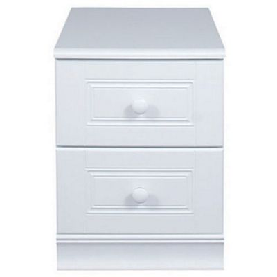 Caxton Henley 2 Drawer Narrow Beside Table in White