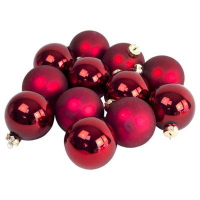 Pack of 12 Red 8cm Christmas Tree Glass Bauble Decorations