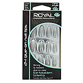 Royal 24 Glue-On Strong Full False Fake Nails Nail Tips - Ice Maiden Stiletto