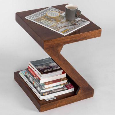 Homescapes Modern Dakota Z Shaped Side Table Solid Wood Dark Shade