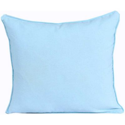 Homescapes Cotton Plain Blue Cushion Cover, 45 x 45 cm