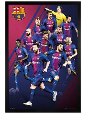 Barcelona FC Black Wooden Framed Players 17-18 Poster 61 x 91.5cm