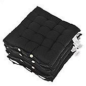 Homescapes Set of 4 Cotton Plain Black Seat Pads with Button Straps