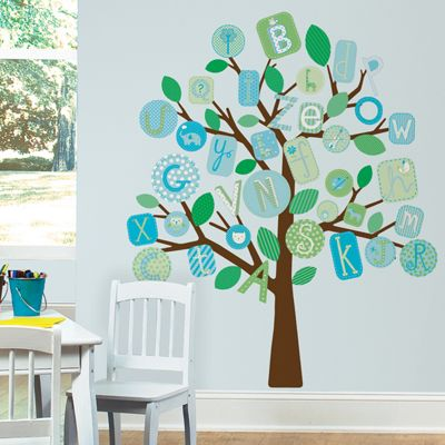 Nursery Large Wall Stickers - Blue ABC Tree