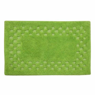 Homescapes Cotton Check Border Fern Green Bath Mat