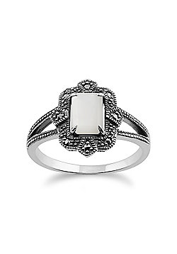 Gemondo Sterling Silver Art Deco 1ct Mother of Pearl & Marcasite Ring