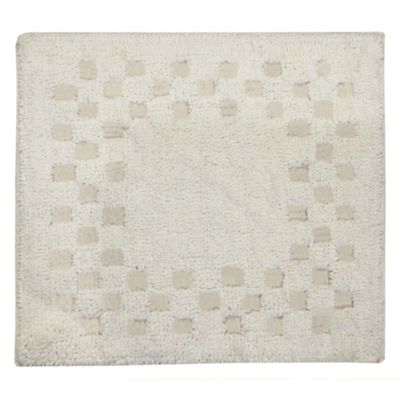 Homescapes Cotton Check Border Natural Shower Mat