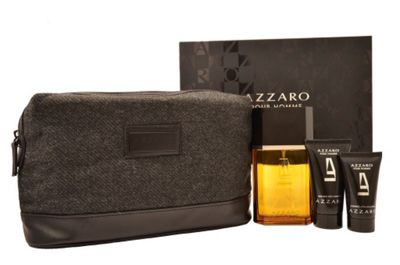Azzaro Pour Homme EDT 100ml, Hair & Body Shampoo, After Shave Balm, Travel Bag