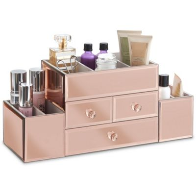 Beautify Large Rose Gold Mirrored Glass Jewellery Box & Makeup Organiser
