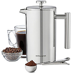 Andrew James Cafetiere Coffee Press - Inc. Measuring Spoon Bag Clip Stainless Steel - 1000ml