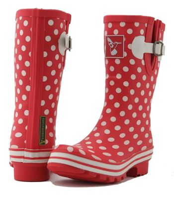 Evercreatures Ladies Evergreen Rubber Wellies White Polka Dots in Red Size 3 UK