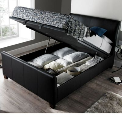 Happy Beds Allendale Faux Leather Ottoman Storage Bed - Black - 4ft6 Double