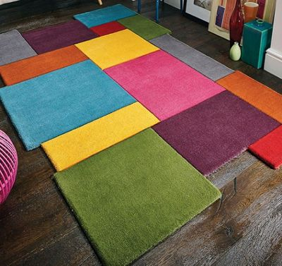 Abstract, Multi Coloured Collage Rug 100% Wool - 90 x 150 cm