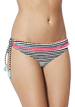 F&F Tassel Trim Striped Side Tie Bikini Briefs - Multi