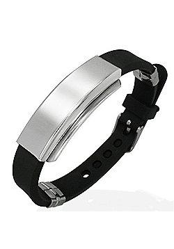 Men's Black Rubber & Stainless Steel ID Plate Bracelet by Urban Male