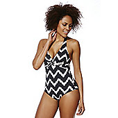 F&F Shaping Swimwear Chevron Print Twist Front Halterneck Swimsuit - Black & White
