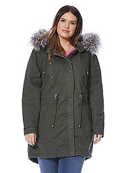 Simply Be Capsule Faux Fur Trim Hooded Parka - Khaki
