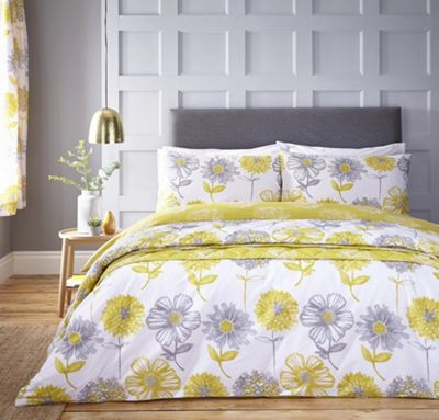 Catherine Lansfield Banbury Floral duvet cover and pillowcase set - yellow - single
