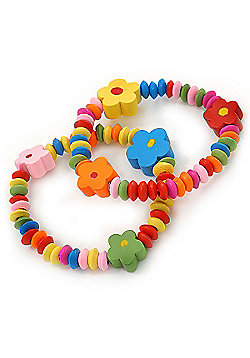 Children's/ Teen's / Kid's Multicoloured Wood Bead with Flowers Flex Bracelet - Set of 2pcs - Adjustable