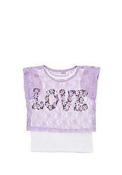 Minoti Lace Layer Love Slogan T-Shirt - Lilac