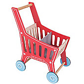 Bigjigs Toys Wooden Supermarket Shopping Trolley - Pretend Play Shop and Role Play for Kids