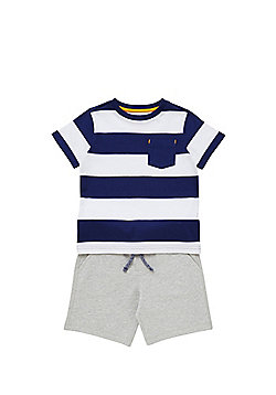 F&F Striped T-Shirt and Jersey Shorts Set - Multi