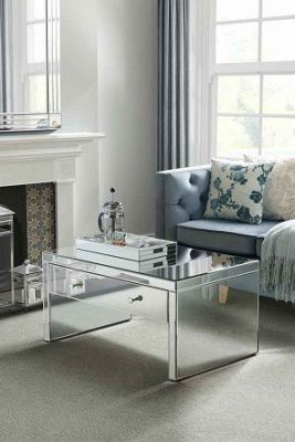 My-Furniture Venetian Mirrored Coffee Table with Single Drawer
