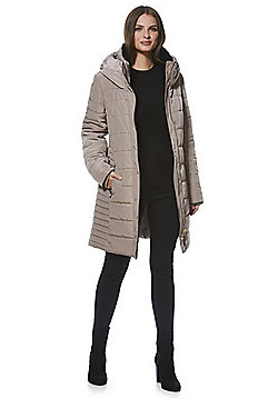 F&F Faux Fur Trim Shower Resistant Padded Coat - Taupe