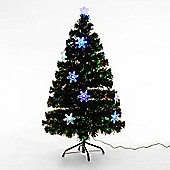 Homcom 4ft Green Fibre Optic Artificial Christmas Tree LED Light with Snowflakes Ornaments (4ft (120cm))