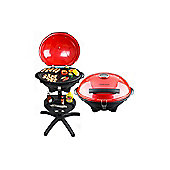 Andrew James Electric BBQ Barbecue Grill,1600 Watts, Use Indoor or Outdoor - Red
