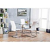 Cosmo Chrome Metal And Glass Dining Table And 4 White Lorenzo Dining Chairs