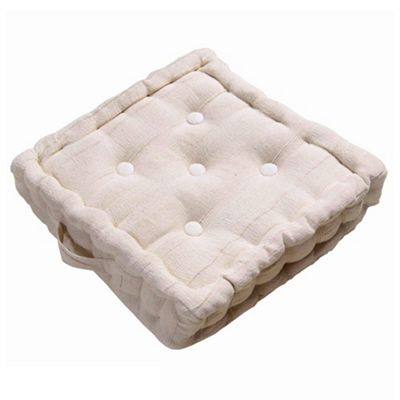 Homescapes Rajput Ribbed Cotton Floor Cushion Natural
