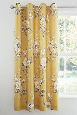 Catherine Lansfield Canterbury Easy Care Curtains Ochre, 66 x 72 Inch